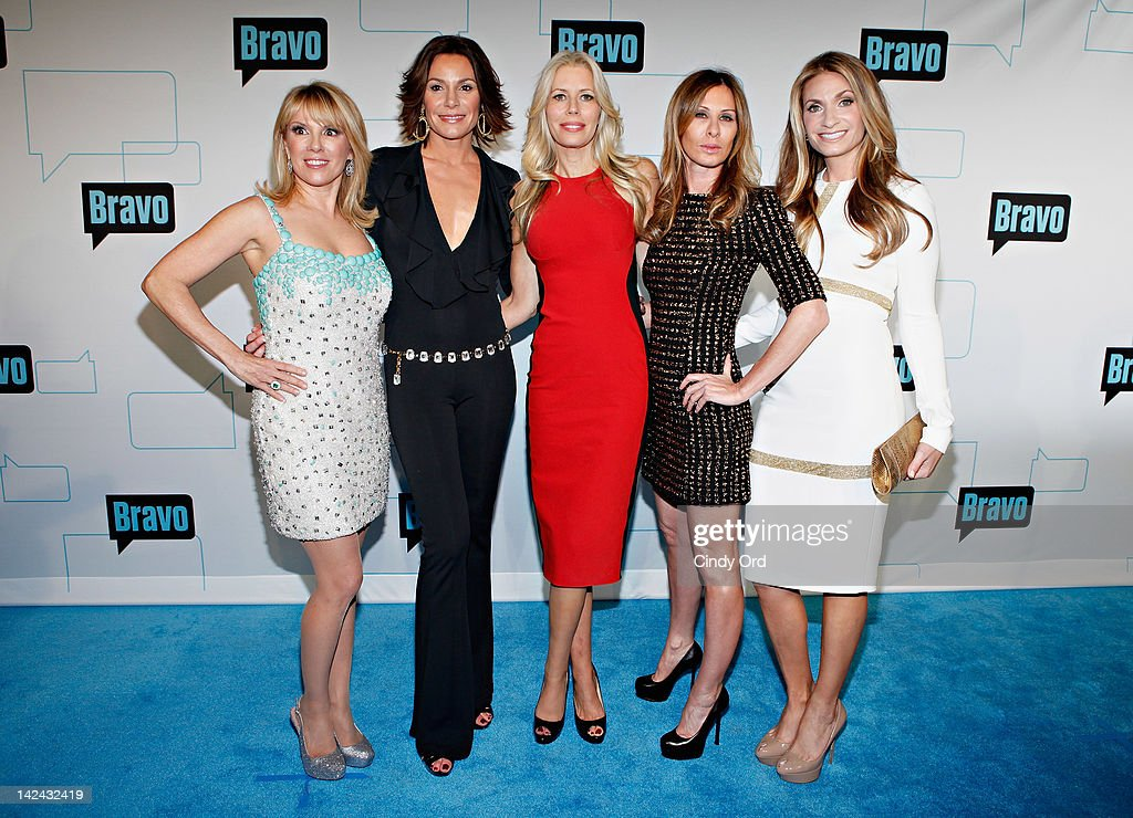 TV persoanlities Ramona Singer, LuAnn de Lesseps, Aviva Drescher, Caroline Radzwill, and Heather Thomson of The Real Housewives of NY attend the Bravo Upfront 2012 at Center 548 on April 4, 2012 in New York City.