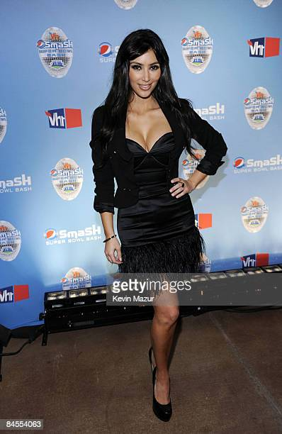 TV persoanlity Kim Kardashian attends Pepsi Smash Super Bowl Bash presented by VH1 at Ford Amphitheatre on January 29 2009 in Tampa Florida