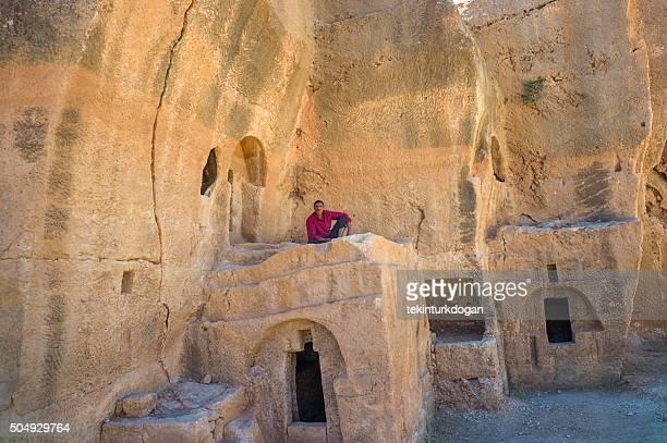 person at ancient City of Dara ruins  nusaybin mardin turkey
