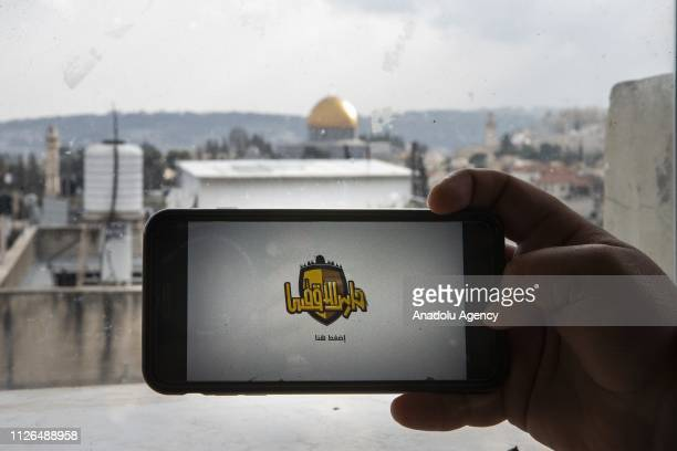 A person begins to play the 'Protector of Aqsa' a game developed for younger generation to recognize AlAqsa Mosque Compound in Jerusalem on February...