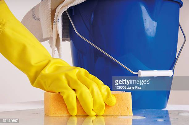 person cleaning with sponge - daily bucket stock pictures, royalty-free photos & images