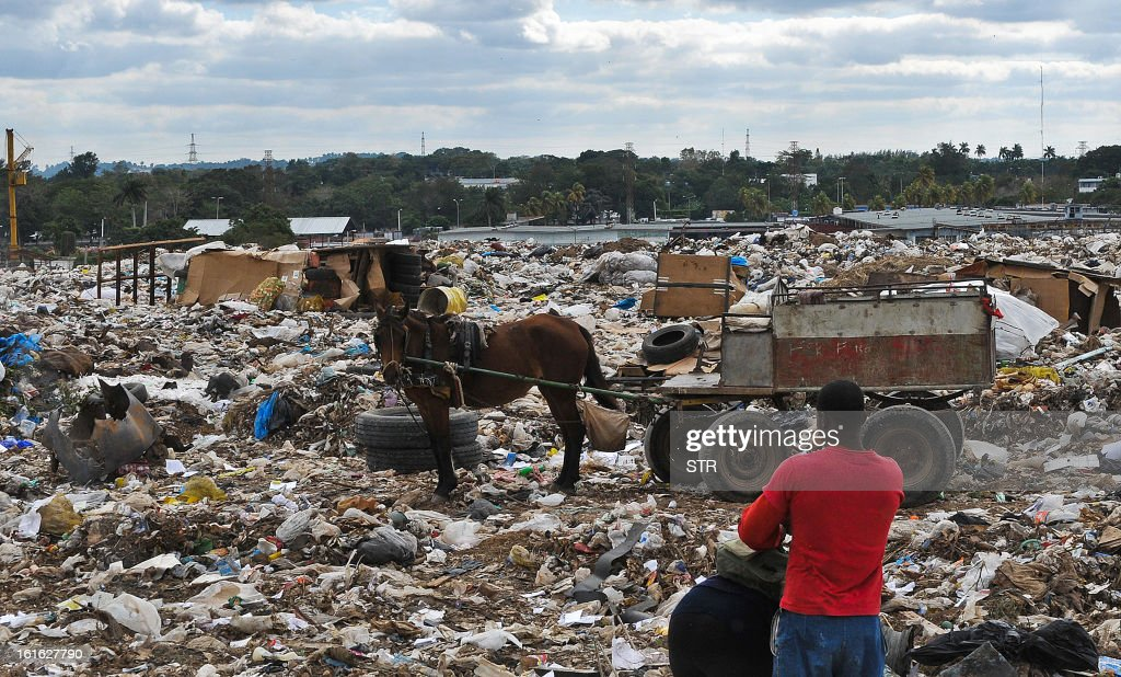 A person collects garbage at a junkyard near Havana on February 13, 2013.