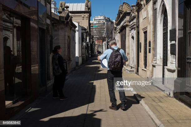 A person consults a map at the Recoleta Monumental Cemetery in Buenos Aires Argentina on Sunday Sept 17 2017 The National Institute of Statistics and...