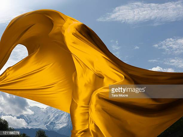 person covered in yellow material with mountains