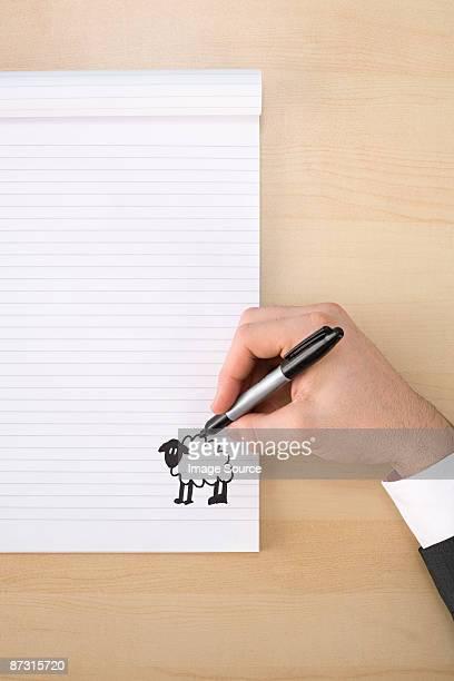 Person drawing a sheep