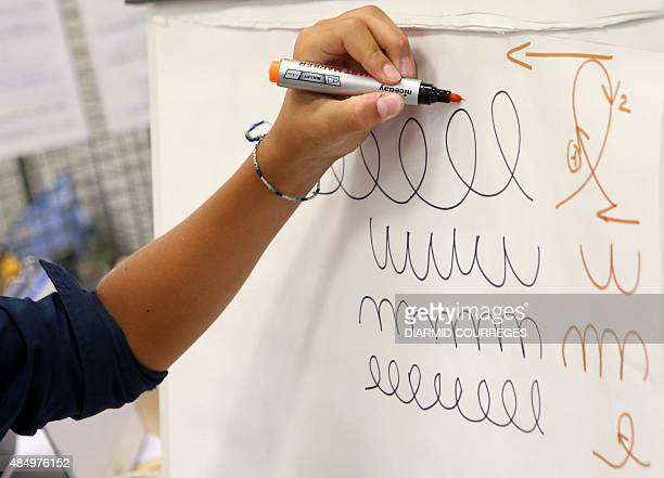 A person draws loops in the Salle du Pont du Buy in Brivela Gaillarde where writing and cooking workshops were organised and objets for the...