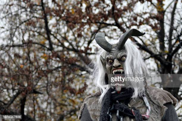 A person dressed as a horned Krampus in the eight annual Parade of Spirits Krampus Parade through the Northern Liberties neighborhood of Philadelphia...