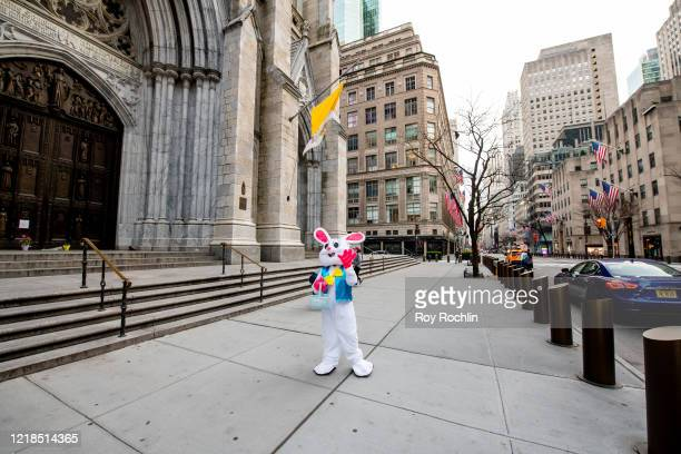 A person dressed as an Easter Bunny tries to spread some Easter spirit next to the St Patrick's Cathedral as New Yorkers practice Social Distancing...