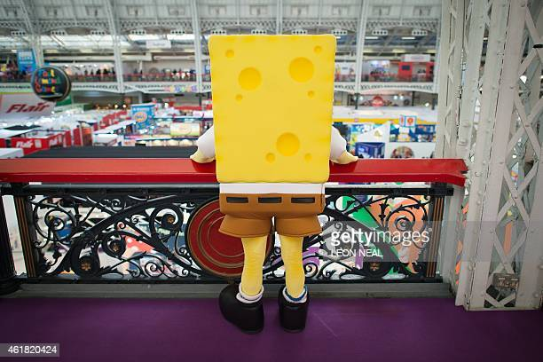 A person dressed as cartoon character Spongebob Squarepants is pictured at the Toy Fair 2015 in central London on January 20 2015 Toy Fair the only...