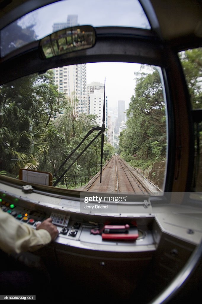 Person driving tram (fish-eye) : Stockfoto