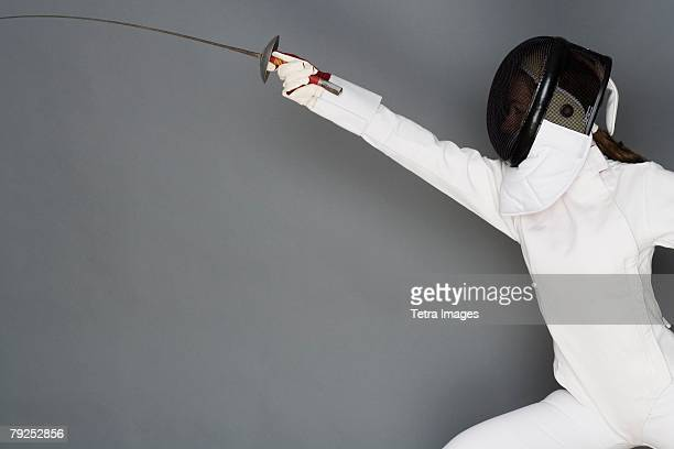 Person engaged in fencing
