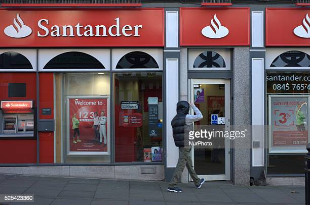 A person entering a branch of Santander UK on Wednesday 5th November 2014 in Stockport Santander UK is part of the global bank Banco Santander The...
