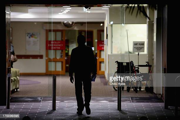 A person enters The Wesley Hospital the site of a Legionnaires outbreak on June 7 2013 in Brisbane Australia An investigation is underway to...
