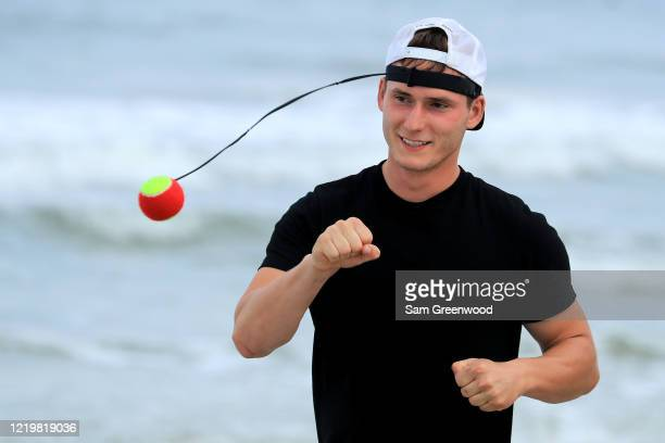 A person exercises at the beach on April 19 2020 in Jacksonville Beach Florida Jacksonville Mayor Lenny Curry announced Thursday that Duval County's...