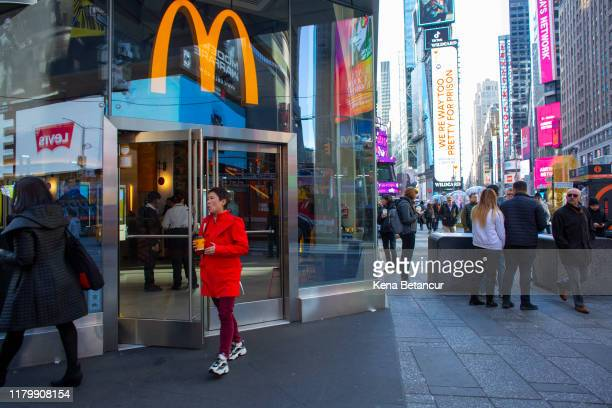 A person exits a McDonald's restaurant in Times Square following the firing of their CEO Steve Easterbrook on November 4 2019 in New York City...