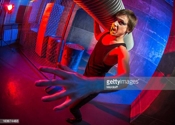 person from dystopian future - air raid shelter stock pictures, royalty-free photos & images
