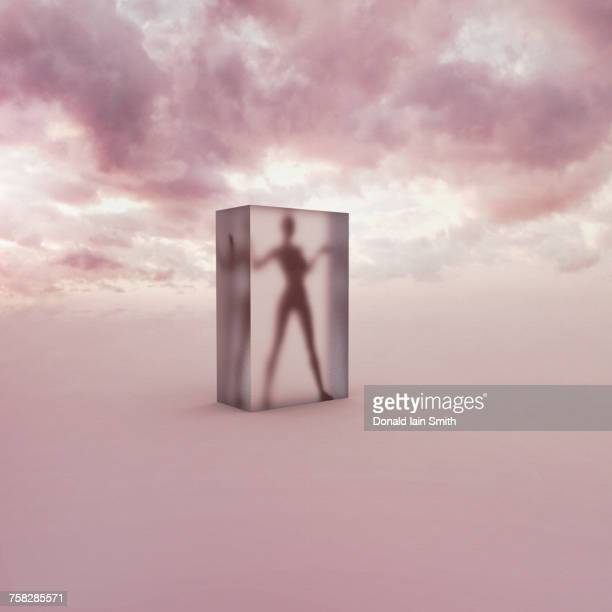 Person frozen in suspended animation in clouds