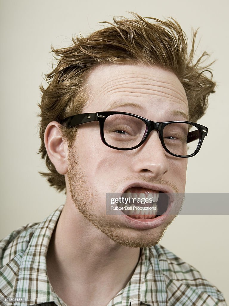 person getting wind blown in the face : Stock Photo