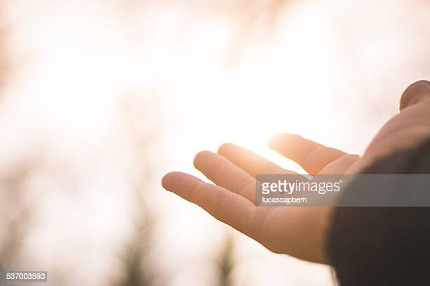 Person hand in front of sunlight