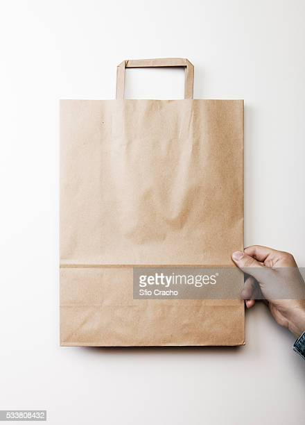 Person holding blank paper bag on white background