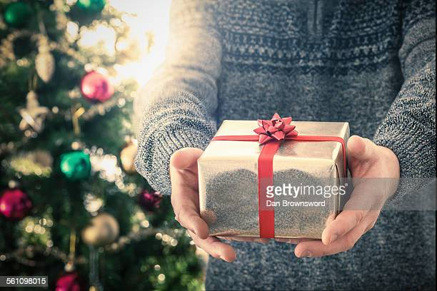 person holding christmas gift - giving stock photos and pictures