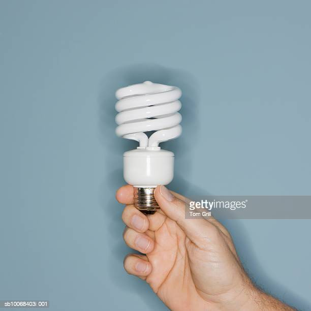Person holding lightbulb, close-up of hand