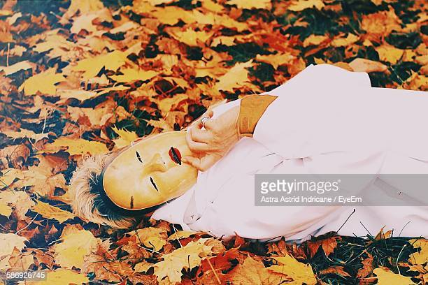 Person Holding Noh Mask Lying On Autumn Leaves