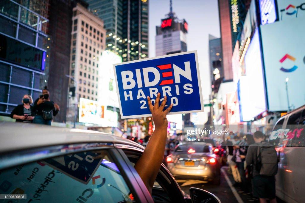Supporters of Joe Biden Celebrate The Victory In Queens : News Photo