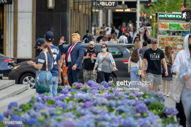 Person in a Donald Trump costume working for tips waves to people next to rows of flowers at the Fifth Avenue Blooms Mother's Day installation along...