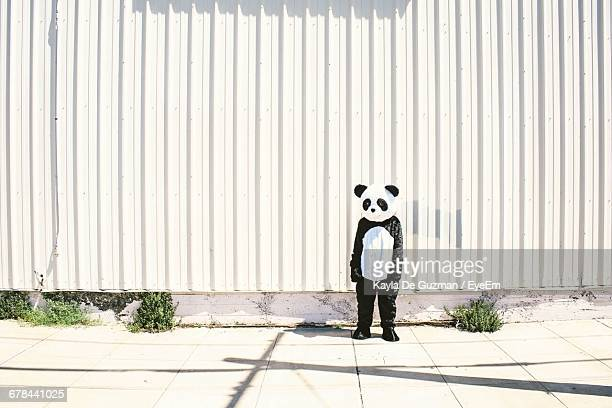 person in panda costume standing on sidewalk - panda stock pictures, royalty-free photos & images