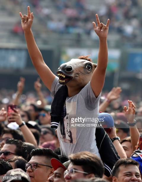 A person in the crowd with a horse mask gestures as Mexican band Los Estramboticos performs during the second day of the 'Vive Latino' music festival...