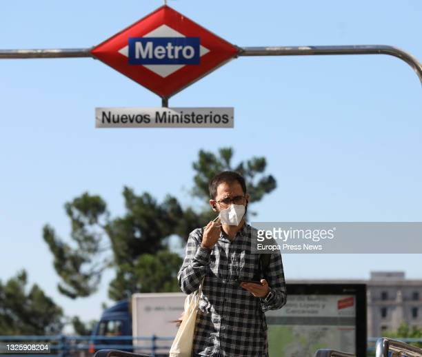 Person in the vicinity of Nuevos Ministerios, on June 28 in Madrid, . This is the first working day without the mandatory use of masks in open spaces...