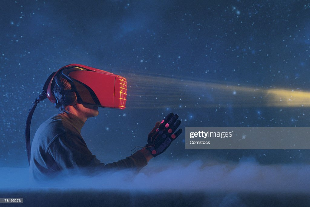 Person in virtual reality gear : Stock Photo