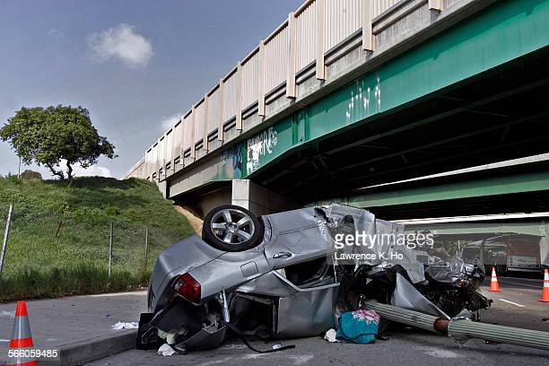A person is reportedly injured when his car flew off the off–ramp of Pomona Fwyat Whittier Blvd in East Los Angeles on Mar 8 2009