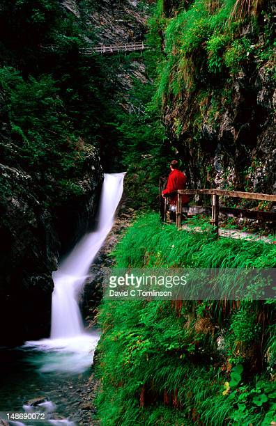 Person looking at waterfall in Diosaz gorge, Servoz.