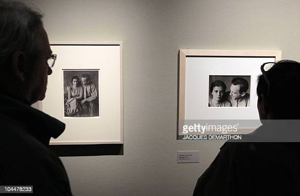 A person looks at a picture by HungarianBorn US photographer Andre Kertesz Elisabeth and me dated 1933 on September 27 2010 at the Jeu de Paume in...