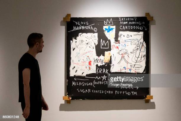 Person looks at the A Panel of Experts courtesy of the Montreal Museum of Fine Arts. On show at the exhibition Basquiat: Boom for Real. Running until...