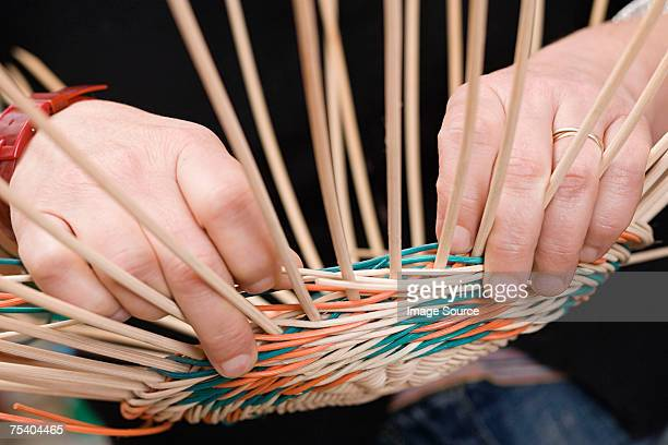 person making basket - wicker stock pictures, royalty-free photos & images
