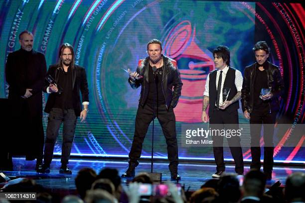 Person of the Year honorees Sergio Vallin Fher Olvera Alex Gonzalez and Juan Calleros of Mana speak onstage during the 19th annual Latin GRAMMY...