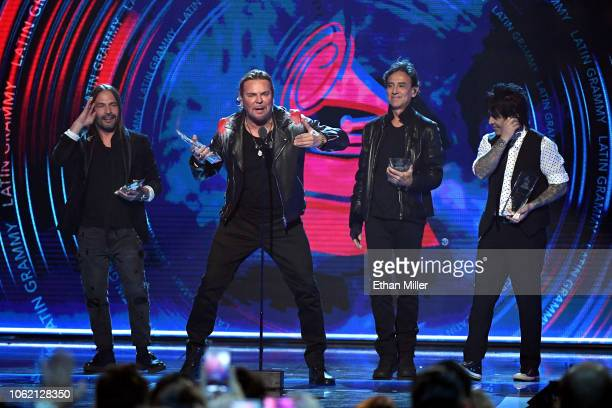 Person of the Year honorees Sergio Vallin Fher Olvera Juan Calleros and Alex Gonzalez of Mana speak onstage during the 19th annual Latin GRAMMY...