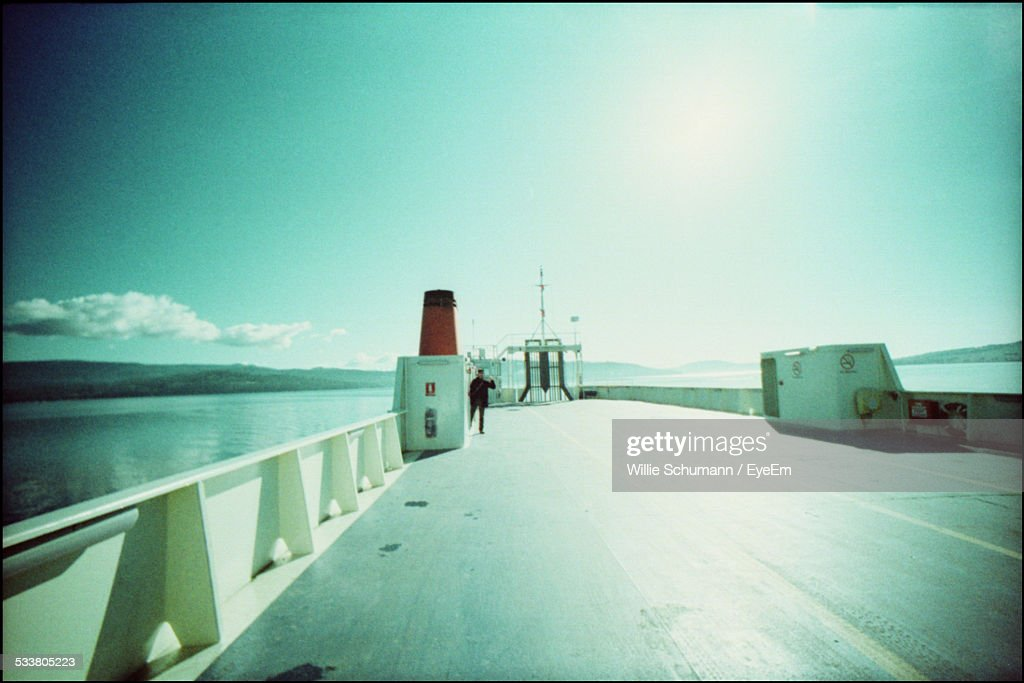 Person On Ferry Deck : Foto stock