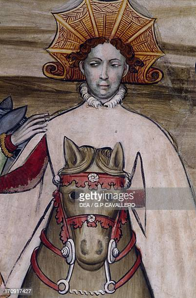 Person on horseback detail from a fresco in Manta Castle Saluzzo Piedmont Italy