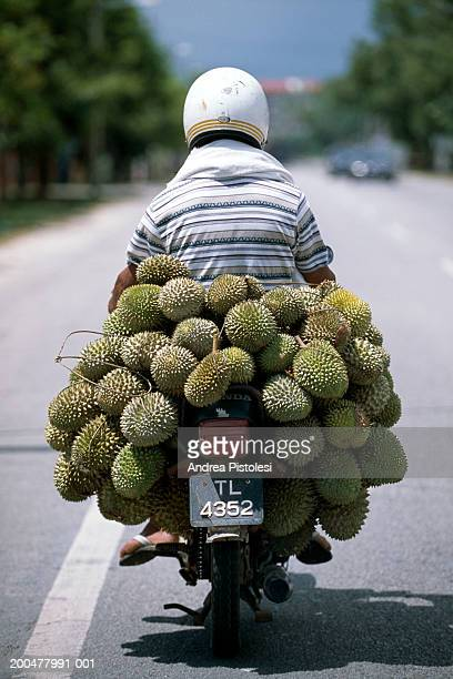 Person on scooter laden with durian fruit, rear view