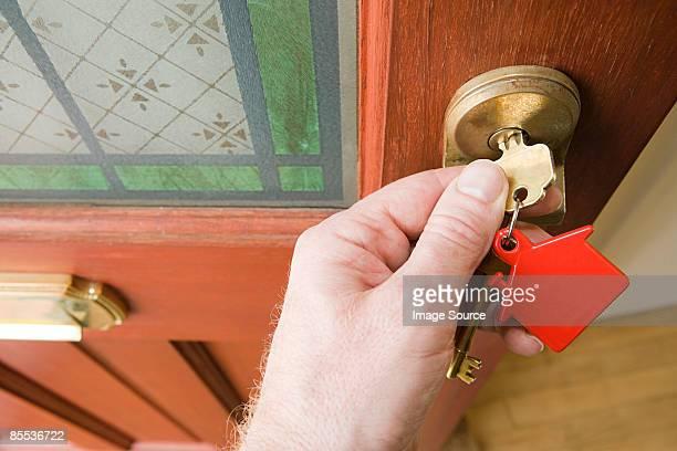 Person opening front door
