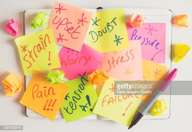 a person or business showing anxiety and doubt with sticky notes full of about stress and pressure - negative emotion stock pictures, royalty-free photos & images