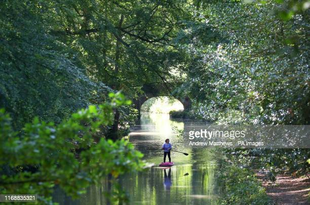 Person paddle boards down the Basingstoke canal near to Dogmersfield in Hampshire.