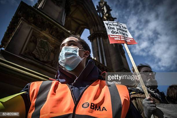 A person participating in the postdemonstration rally in Albert Square outside Manchester Town Hall in Manchester Greater Manchester England United...