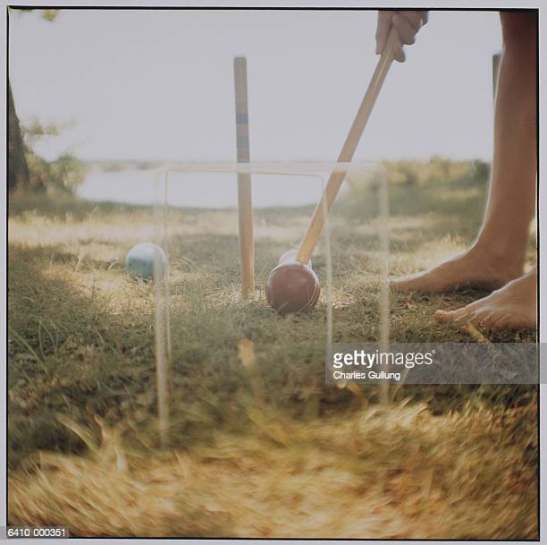 Person Playing Croquet