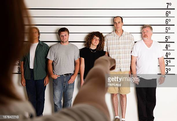 Person Pointing at a Police Lineup