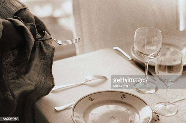 Person Polishing a Fork for a Place Setting